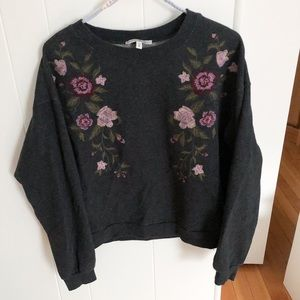 Express One Eleven Floral Embroidered Sweater-XS